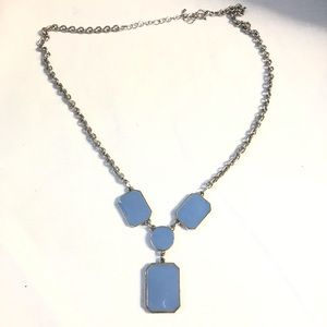 Jewelry - Silver and blue Y gem necklace
